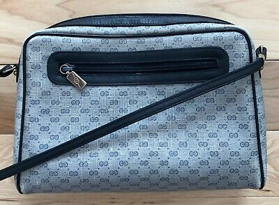 Authentic Vintage Gucci Micro GG Blue Canvas Leather Camera Pocket Crossbody Bag