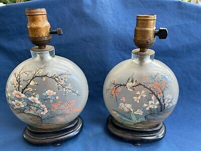 2 Large Antique Chinese Reverse Painted Peking Glass Snuff Bottle Lamps Signed