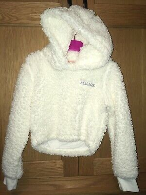 Girls White Fluffy MCKENZIE Age 8-10 Jumper Short Style