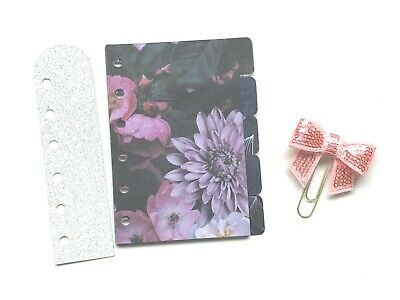 Pocket Filofax Planner Dividers x 5 ~ Page Mark ~ Bow Paper Clip ~ Laminated