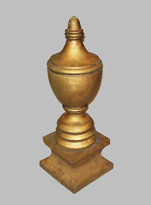 Antique Vtg 19th C 1800s Large Carved Turned Wood Urn Shaped Finial Great Paint