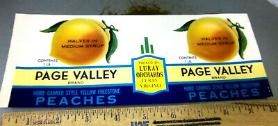 Virginia Luray PAGE VALLEY Peaches Can Label Luray Orchards