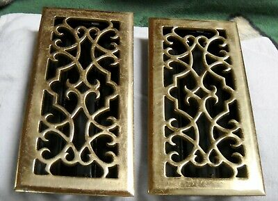 LOT OF 2 Vintage/Antique Floor Heater GRATE ORNATE BRASS HEAVY
