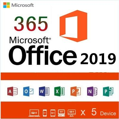 Microsoft Office 2019 2016/365 PRO PLUS Licenza a vita 5 dispositivi+5TB Cloud