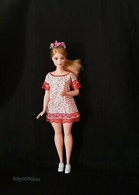 New Curvy fashion floral red lace dress for Your Curvy Barbie Doll Au Made