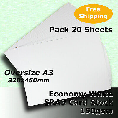 20 Sheets WHITE SRA3 Size 224x320mm 150gsm Economy Card Stock #H5169 #HHHH