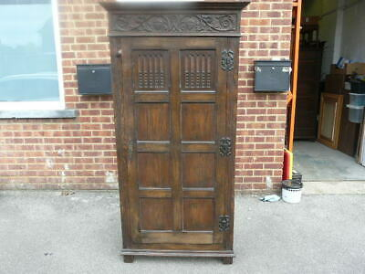 Period Antique Carved Oak Wardrobe.