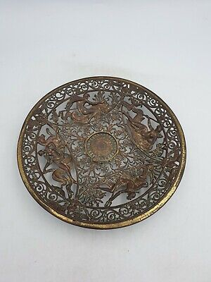 Vtg Cast Iron Bronzed Effect Wall Plaque Plate Dish Ornate Greek Gods Deities