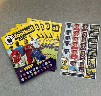5 x Panini Football 2020 Premier League Official Sticker Album + 5 sticker sheet