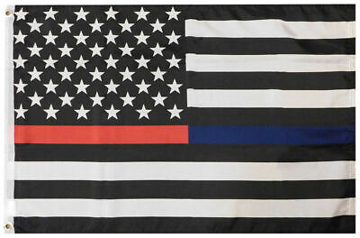 """USA Thin Red Blue Line First Responders 4/""""x6/"""" Flag Desk Set Table Stick Staff"""