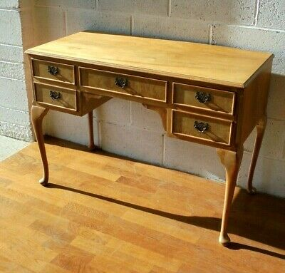Antique Shabby Chic Vintage Blonde Walnut Queen Anne Dressing Table Or Desk