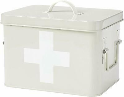 Andrew James Vintage First Aid Tin with Removable Tray | Cream