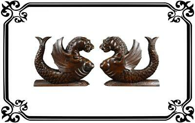 Gorgeous Pair French Carved Wood Griffins Cabinet Supports - Antique Chimera