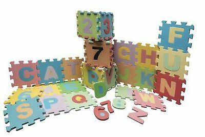 Alphabet and Numbers Foam Puzzle Mat Includes 36 Interlocking Tiles in Pastel...