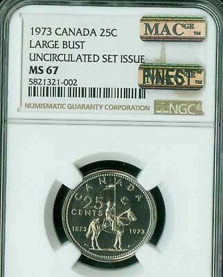 1973 Large Bust Canada 25 Cents Ngc Ms-67 Pq Mac Finest Grade Spotless .