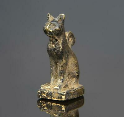 Rare Egyptian New Kingdom gold amulet of a cat: XVIII Dynasty-1470-1330 BC.
