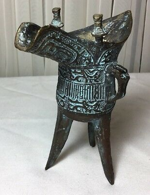 Chinese Ancient Dynasty Palace Old Bronze Beast Pattern 3 Foot Vessel Wine Cup