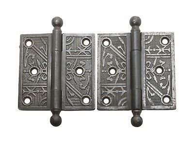 Pair of 3.5 x 3.5 Cast Iron Antique Butt Door Hinges with Ball Tips