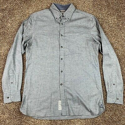 Jos A Bank Mens Medium 'The New Tradition' Textured Button Front Shirt Gray Blue