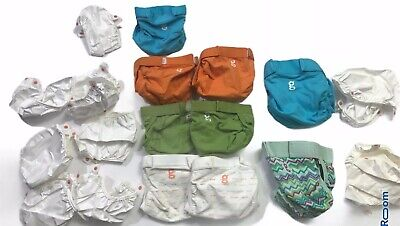 Gdiapers G Diapers Cloth Diaper Lot Of 9 Diapers & 9 Inserts 7 Small 2 Medium