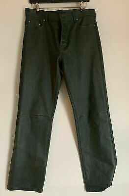 Joseph Leather Pants, Den Straight Leg Green Cropped Trousers FR 40
