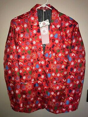 mens NEW NWT red UGLY CHRISTMAS SUIT JACKET COAT size medium 2 BUTTONS FLAKES