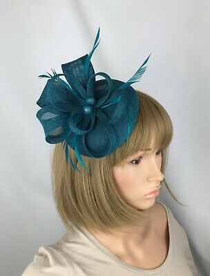 Round Pillbox Bow Sinamay Headband Teal Fascinator Wedding Ascot Hatinator Races