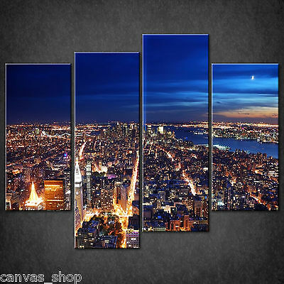 BLUE NEW YORK CITY GRAFFITI CASCADE CANVAS PRINT WALL ART PICTURE READY TO HANG