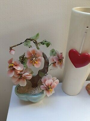 Vintage Beautiful Glass Jade BONSAI Sakura Cherry Blossom Celadon Pot Green