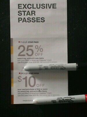 Macy's Star Pass Coupon 25% off and $10 off exp. 3/31/20