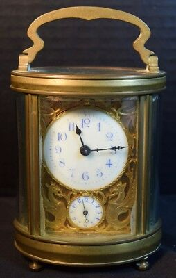 Couillet Freres Antique Brass Carriage Clock with Minute Dial and Alarm