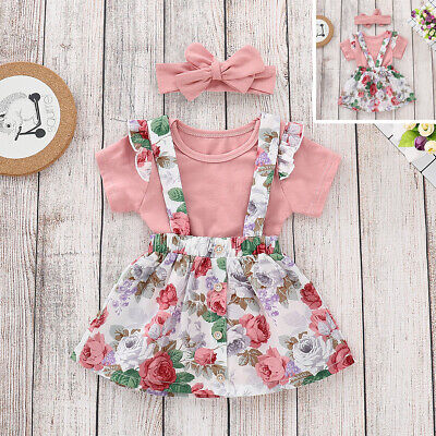 Infant Toddler Baby Girls Tops Romper + Strap Skirt Floral Short Clothes Outfits