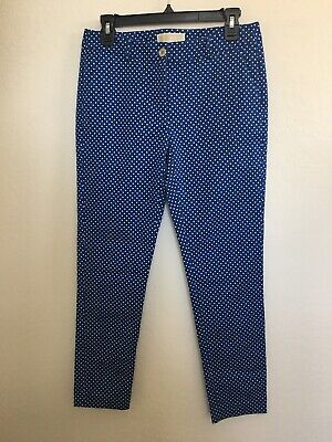Michael Kors Blue with white Polka Dots Ankle Pants size 4 Nice Business Casual