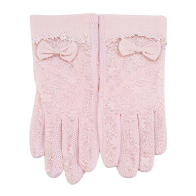 Women Protective Bow Design Gloves Sun Anti UV Summer Driving Lace Thin Gloves