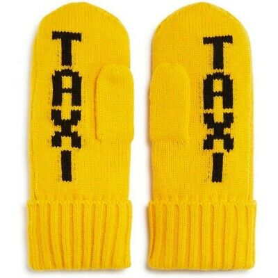 Kate Spade Yellow Taxi Knit Mittens NEW One Size $48 Kitsch Fun Winter Accessory