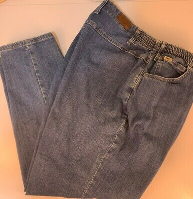 Womens Lee Side Elastic At The Waist Jeans - Stretch  Blue Plus Size 24 W Medium