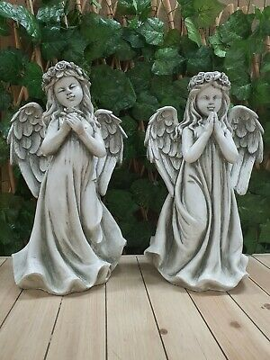 Pair Of Standing Angle Garden Ornament House Deco