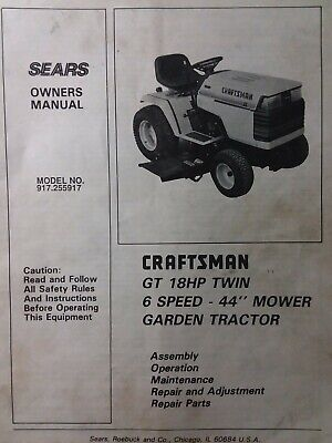 SEARS CRAFTSMAN GT/18 twin 6sp 1988 Lawn Garden Tractor Owners Manual  917.255914 - $64.99 | PicClick