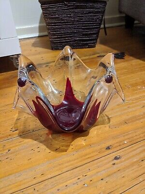 KOF Japanese Swung/Pulled Glass Bowl Red/Clear