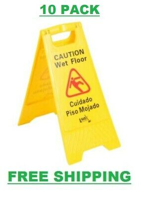 """10 PACK Restaurant Caution Wet Floor Yellow 25"""" Folding Sign Commercial Safety"""