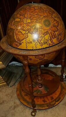 Vintage Italian Portable Zodiac Decorative Floor Globe Bar Cart
