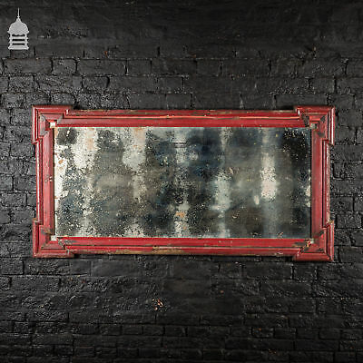 Distressed 19th C Plate Mirror with later Red Painted Frame