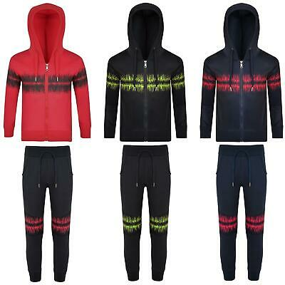 Boys Girls Cardio Print Tracksuit Hooded Jumper Top Kids Jogging Bottoms 3-14 Y