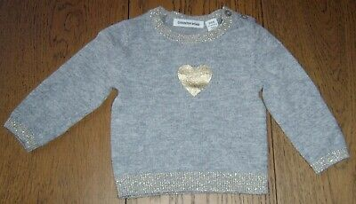 Country Road Baby Girls Wool Blend Jumper With Gold Heart Sz 000 (0-3 Months)