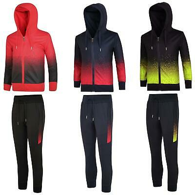 Boy Girl Pixel Dot Print Tracksuit Hooded Jumper Kids Top Jogging Bottoms 3-14 Y