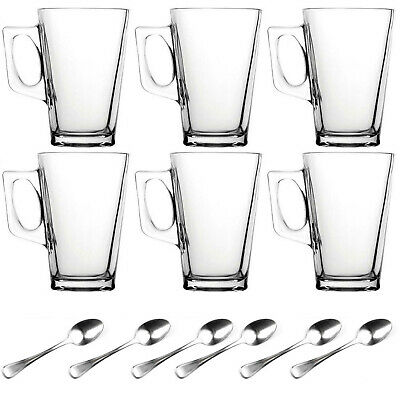 6 x 240ML LATTE GLASSES TEA COFFEE CAPPUCCINO GLASS CUPS HOT DRINK MUGS & SPOONS