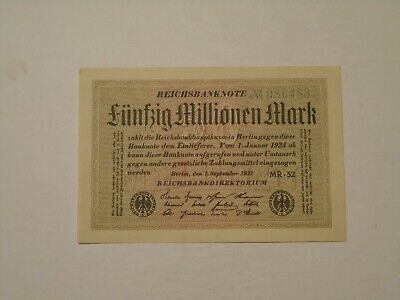 GERMANY 1923 50000000 / 50 MILLION MARK UNCIRCULATED BANKNOTE P-109b/2
