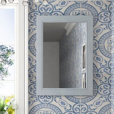 Victorian 700mm grey bathroom fitted furniture wall mounted rectangle oak mirror