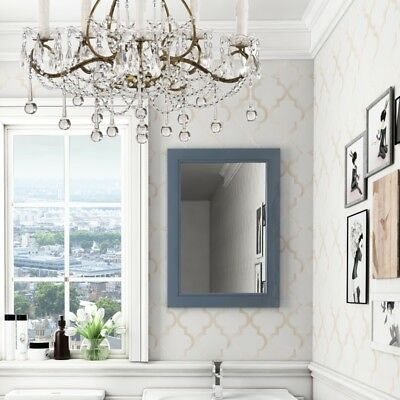Cloakroom 700mm Victorian blue oak frame rectangle wall mounted bedroom mirror