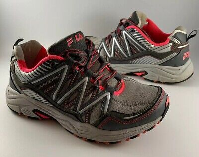 FILA HEADWAY 6 Gray Coral Mesh Trail Runner Sneakers Womens